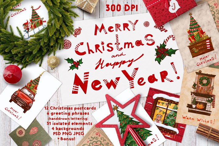 Christmas set of clipart, cards and lettering