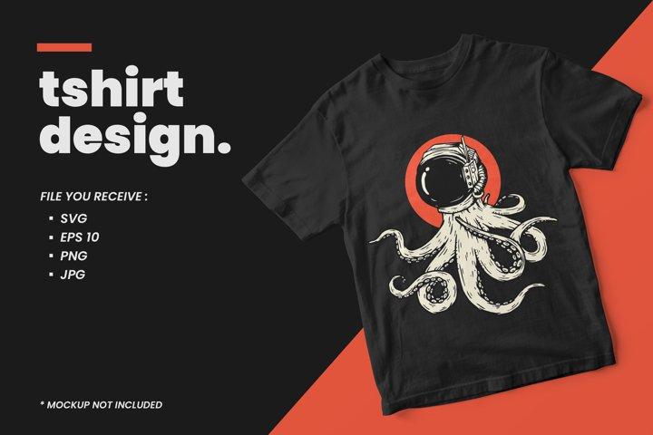 Octopus with astronaut helmet illustration t shirt design