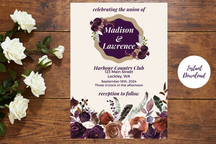 Plum and Beige Autumn Wedding Invitation