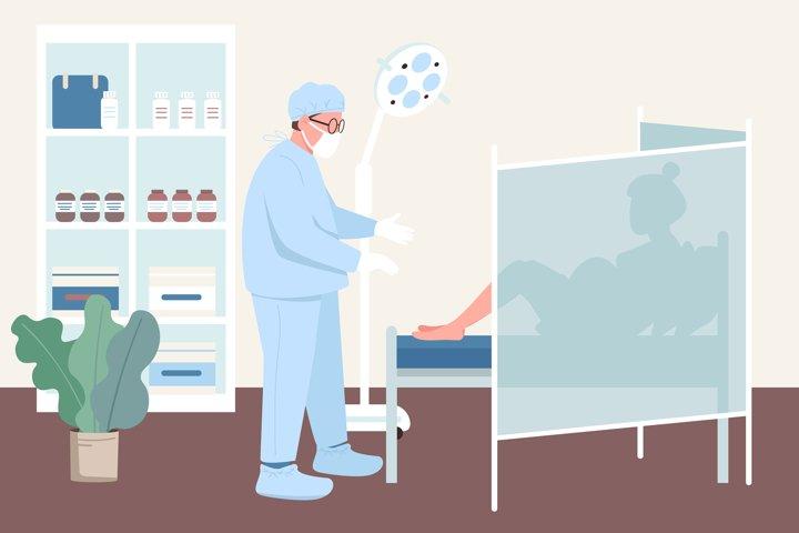 Pregnancy checkup flat color vector illustration