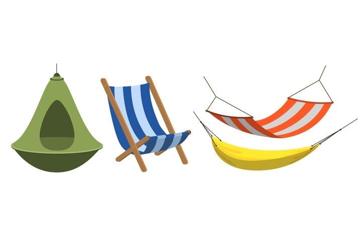 Hammock icons set, cartoon style