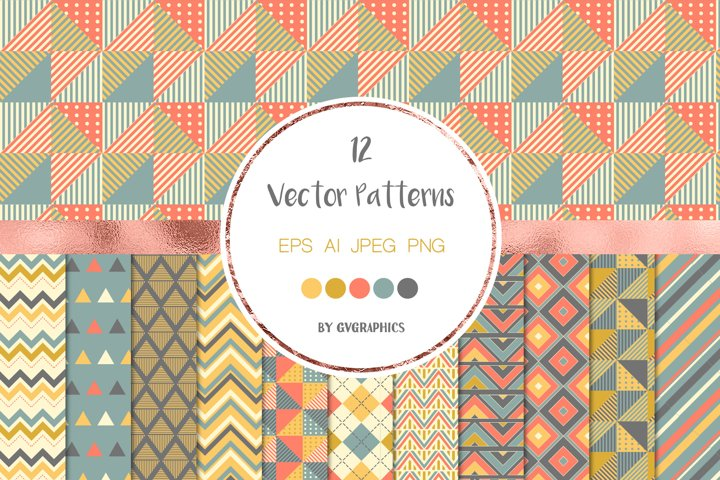 12 Geometric Seamless Patterns, Triangles and chevrons