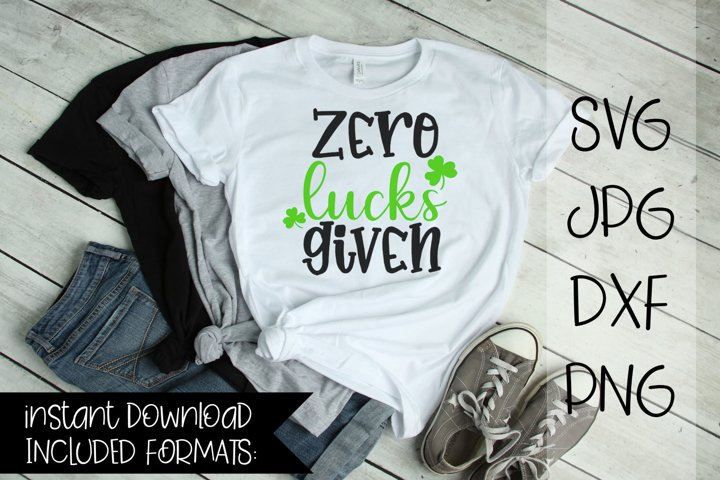 Zero Lucks Given, St Patricks day, SVG
