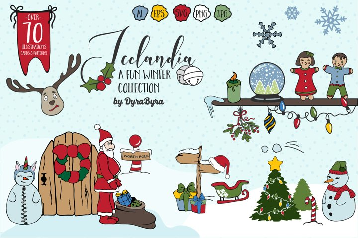 Icelandia - Christmas Bundle of Illustrations & Patterns