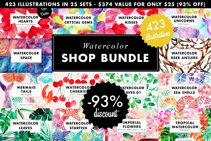 SALE | Watercolor Bundle | Best Sellers Clipart Illustration