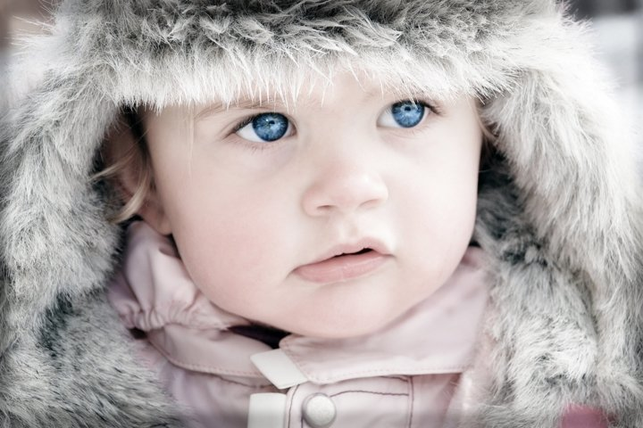 Portrait of a child with sea eyes.