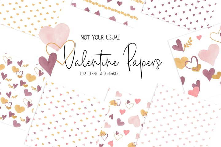 Watercolor Valentine Digital Papers and Clip art