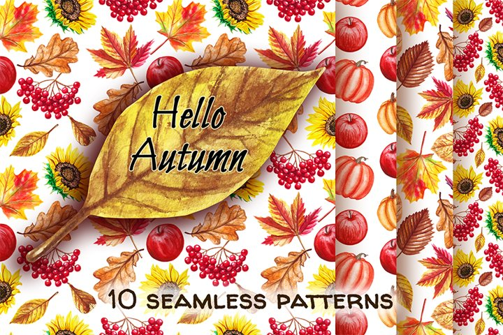 Watercolor autumn digital paper Pack, Fall Background