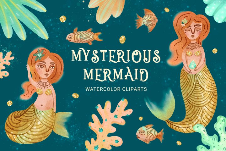 Mysterious mermaids, watercolor set