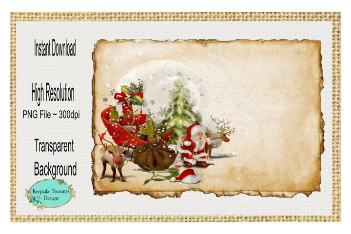 Vintage Santa Background, Sublimation