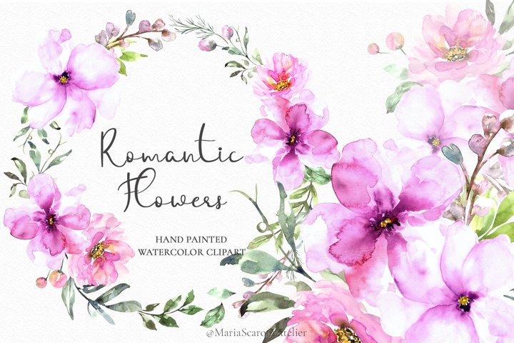 Romantic Flowers - Watercolor floral set