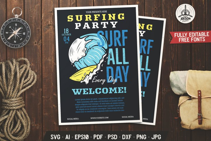 Surfing SVG Flyer Template Vintage Adventure Poster DXF PNG