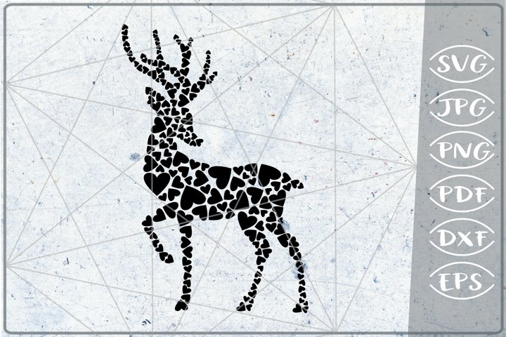 Christmas Reindeer SVG Hearts Print in Heart Cutting Love