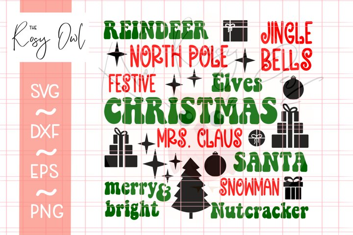 Christmas Subway Art SVG | Christmas Words SVG