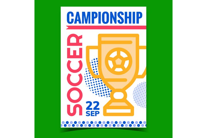 Soccer Championship Promotional Poster Vector
