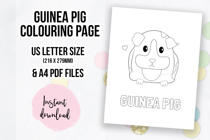 Cute Guinea Pig Coloring Page | Colouring Book Page