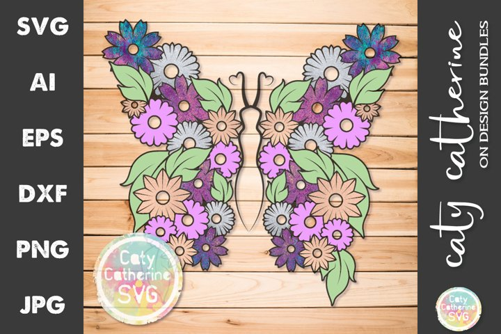 Floral Butterfly With Flowers And Leaves SVG Cut File