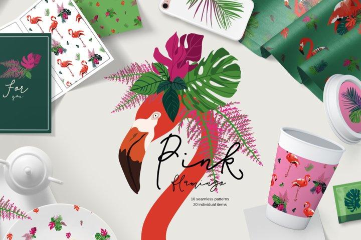 Set of pink flamingos seamless patterns