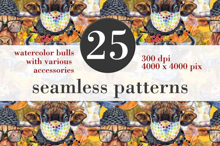 Seamless pattern of watercolor bulls