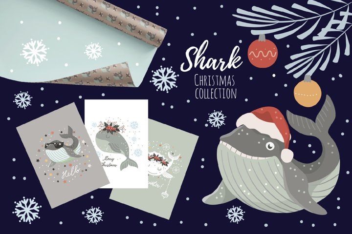Baby shark png Christmas clipart Seamless patterns