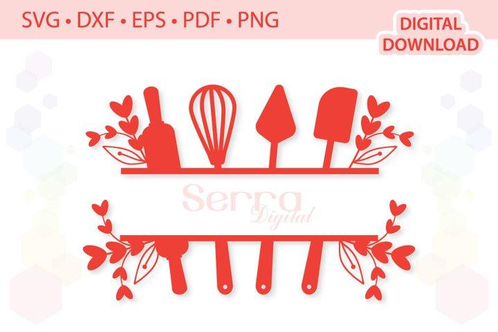 Split Baking Utensils cut files SVG DXF EPS PDF PNG