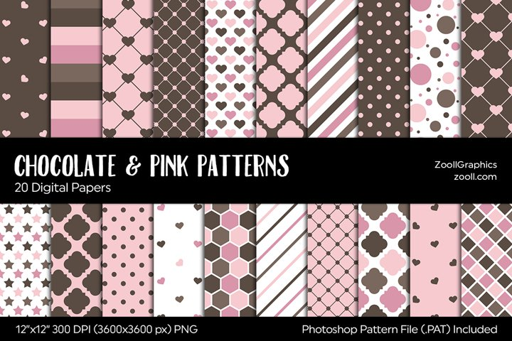 Chocolate & Pink Digital Papers