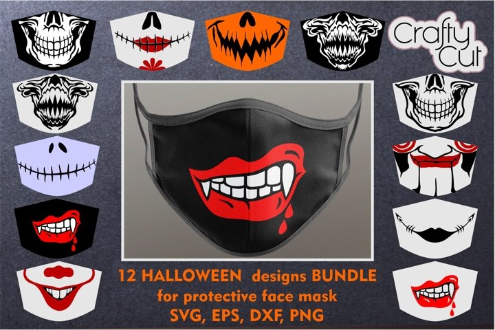 Bundle of fun and scary designs for a protective face mask