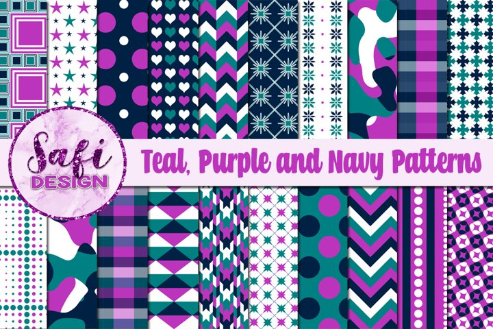 Digital Paper Backgrounds - Teal, Purple and Navy Patterns