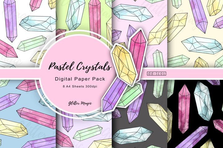 Pastel Large Crystal Gems Craft Papers 8 A4 Sheets