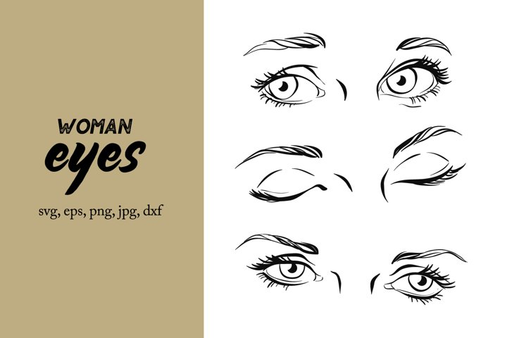 Woman eyes with eyelashes svg, eye svg, files for cricut