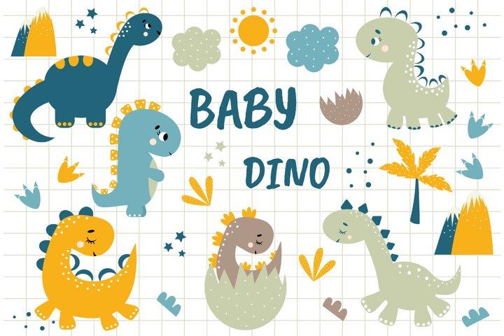 Dinosaur Clipart, Baby shower. Digital clipart set. Dino The
