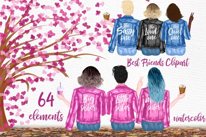 Best Friends Clipart, Sisters clipart,Jeans Jackets Girls