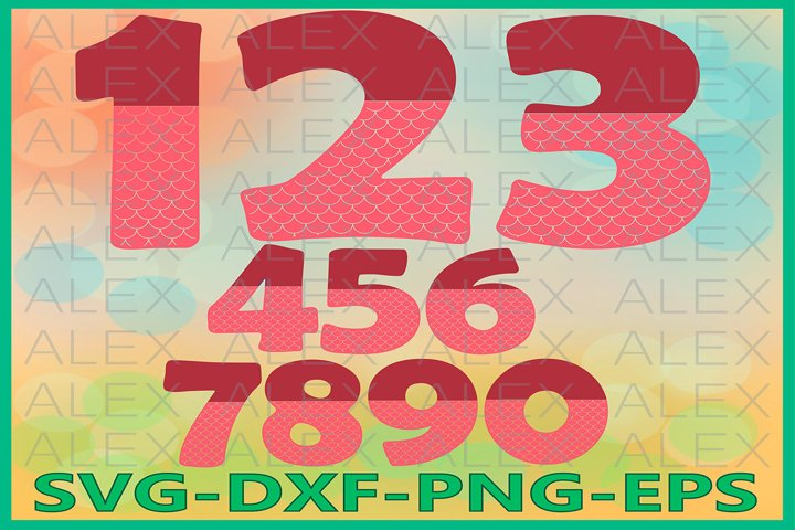 Mermaid Numbers Svg Files, Numbers Svg, Dxf, Png, Ai File