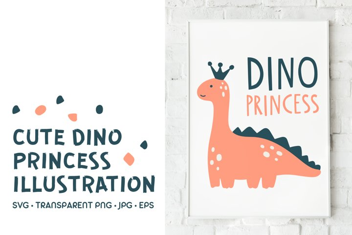 Dinosaur Princess Character. SVG Illustration With Lettering
