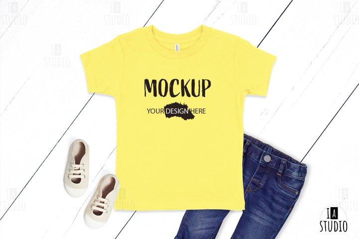 Kids T Shirt Mockup / Bella Canvas 3001T Yellow Mockup