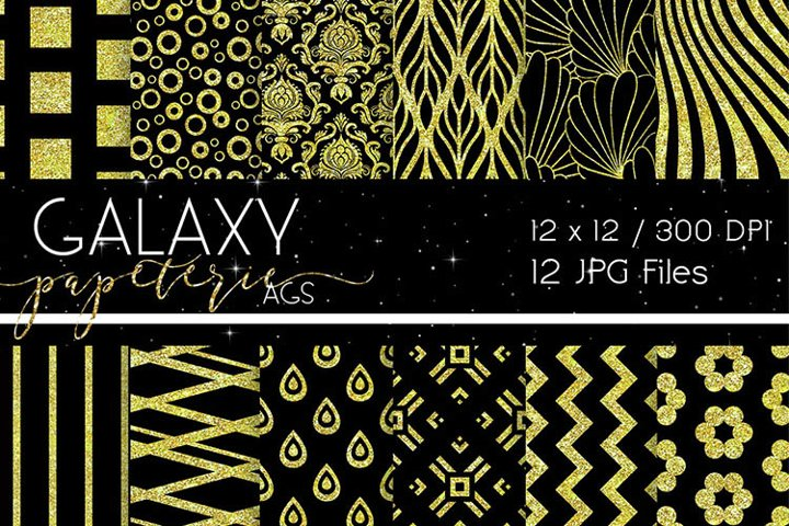 Black and Yellow Glitter Digital Papers - Patterns
