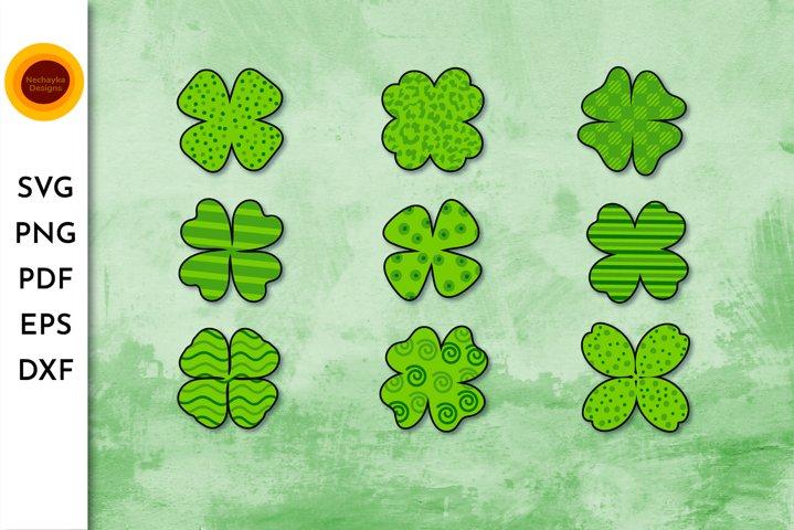 Shamrock clipart. Shamrock SVG bundle. Four leaf clover SVG