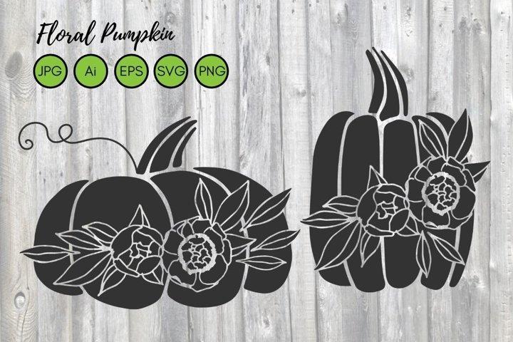 Floral Pumpkin SVG file. Fall Pumpkin With Flowers Cut Files