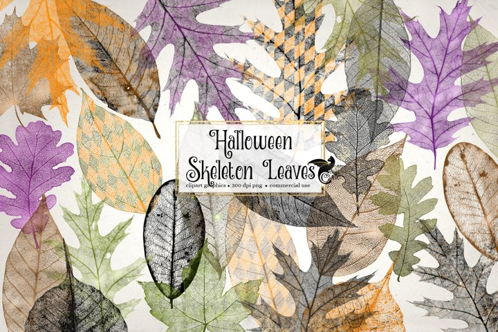 Halloween Skeleton Leaves Clipart