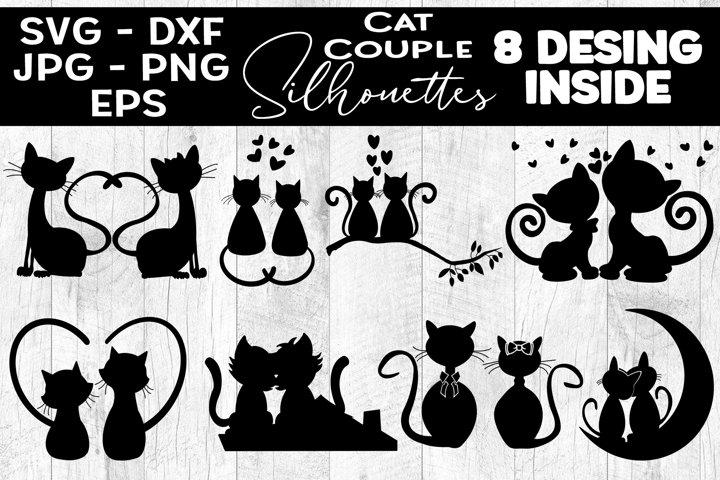Cat Couple Silhouettes SVG Cat Couple Illustrations