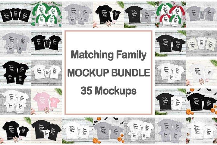 Family Tshirt Mockup Bundle, Kids Shirt Mock Up Bundle Set