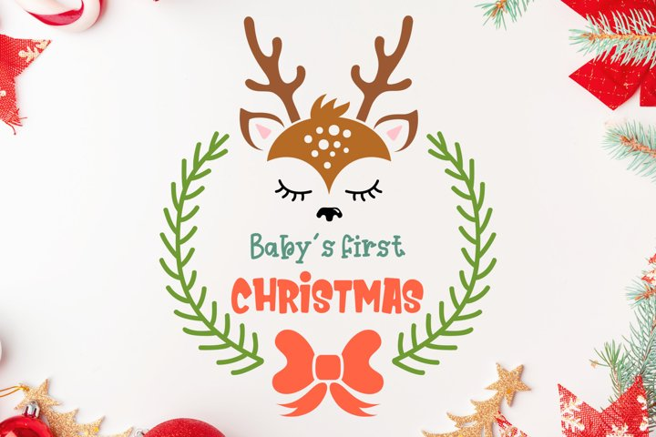 Babys first christmas svg ornament. First christmas baby.