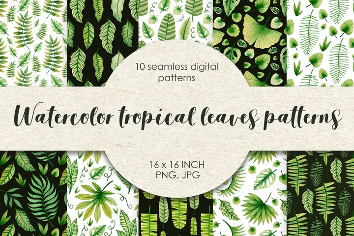 Watercolor tropical leaves seamless patterns.