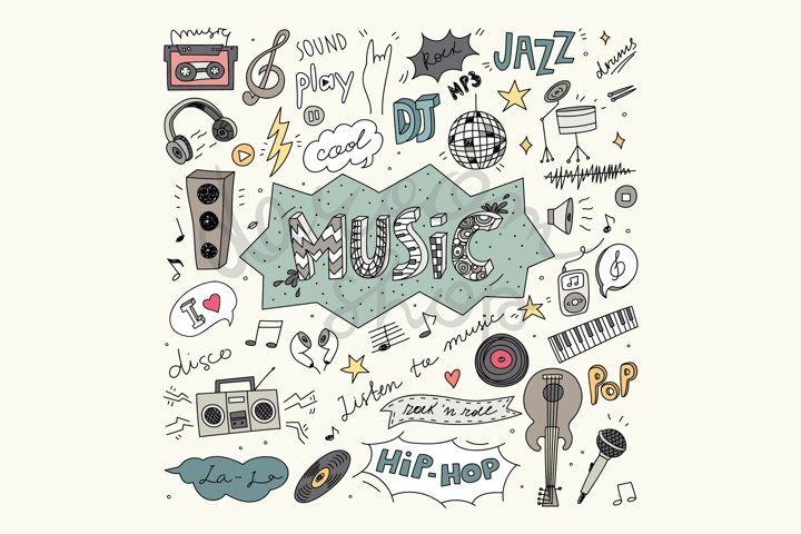Digital Music Clip Art, Vector Illustration, Music Doodles
