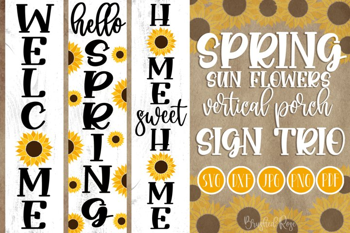 Spring vertical porch signs | Sunflower SVG