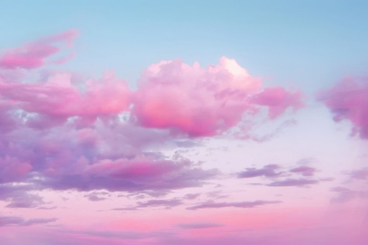 Magic perfect pink sunset sky with clouds