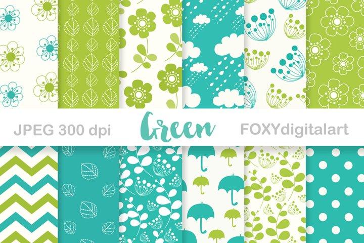 Digital paper floral spring green umbrella retro wedding
