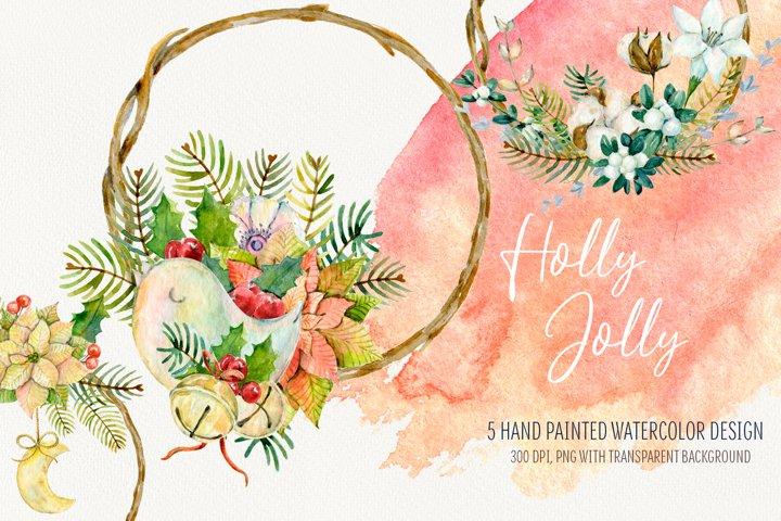 Watercolor Christmas arrangements. Winter cliparts