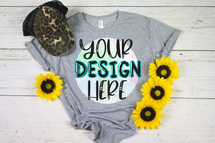 Adult Sublimation Shirt Mock Up - Gray with Sunflowers