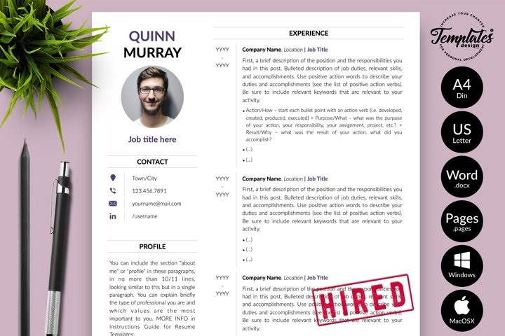 Modern Resume CV Template for Word & Pages Quinn Murray